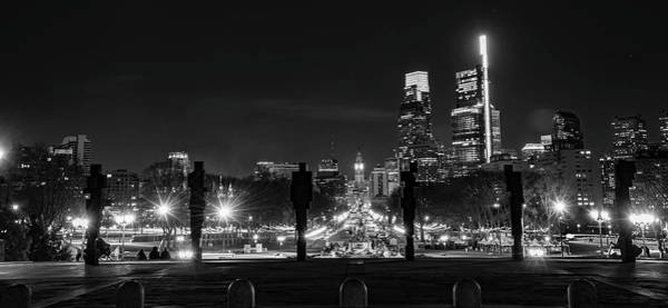 Photograph - The Parkway In Philadelphia At Night In Black And White by Bill Cannon