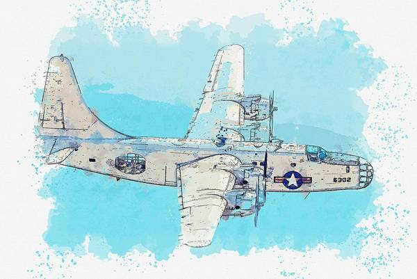 Painting - The Pb4y-2 Privateer Rank IIi American Heavy Bomber Watercolor By Ahmet Asar by Celestial Images