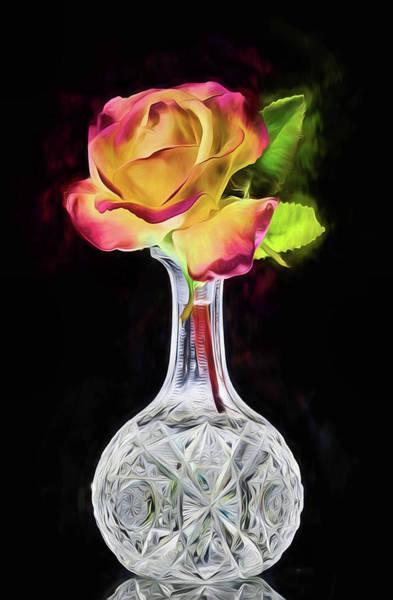 Digital Art - The Peach Rose Still Life by JC Findley