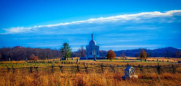 Between The Trees Photograph - The Pennsylvania Monument - Gettysburg by Pixabay