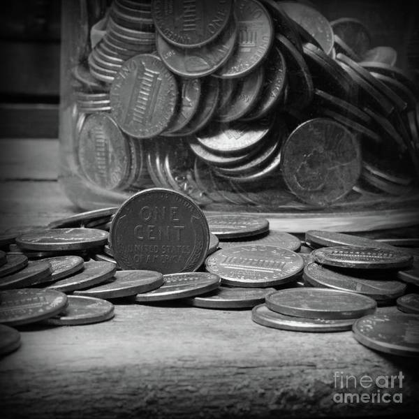 Wall Art - Photograph - The Penny Jar Square Format Black And Whtie by Paul Ward