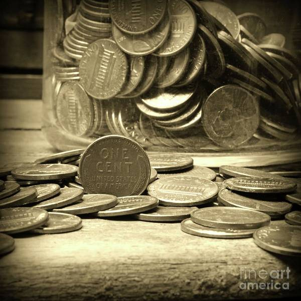 Wall Art - Photograph - The Penny Jar Square Format Sepia by Paul Ward