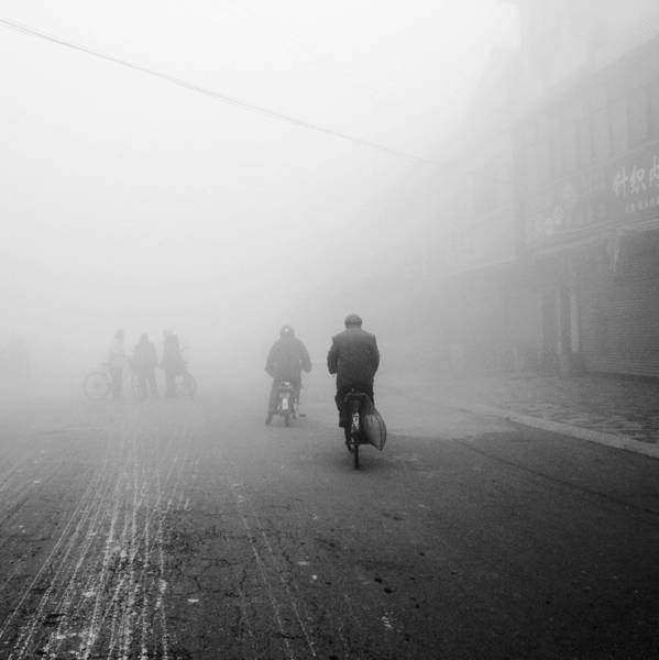 Wall Art - Photograph - The People Rode Bikes In The Small Town by Photography By Shen Xiao Mei