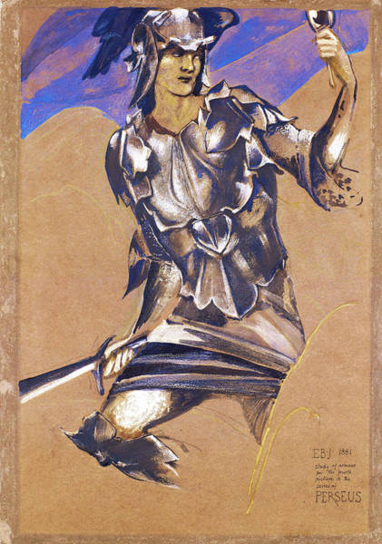 Wall Art - Painting - The Perseus Series - Study Of Perseus In Armour For The Finding Of Medusa by Edward Burne-Jones