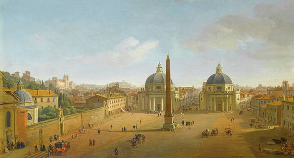Wall Art - Painting - The Piazza Del Popolo, Rome by Gaspar van Wittel