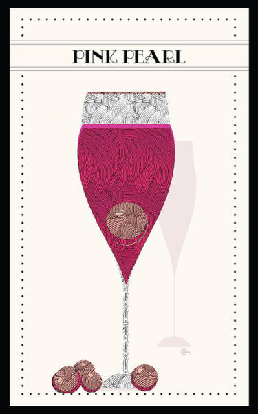 Drawing - The Pink Pearl Cocktail by Cecely Bloom