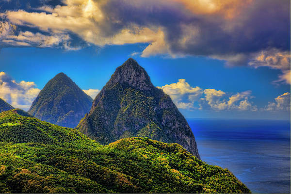 Caribbean Photograph - The Pitons, St. Lucia by Tom Till