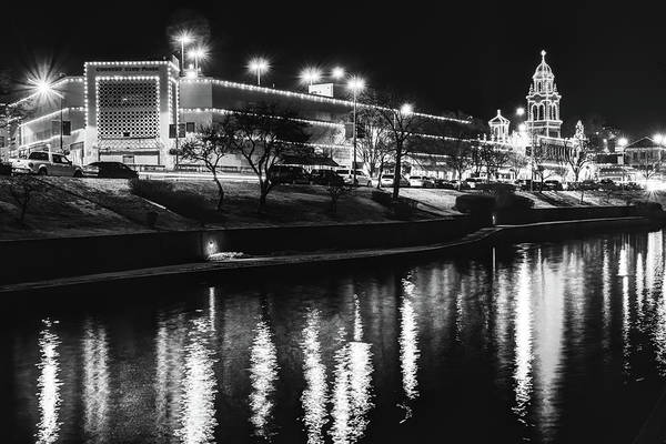 Country Club Plaza Photograph - The Plaza Lights Along The Water - Kansas City Monochrome by Gregory Ballos