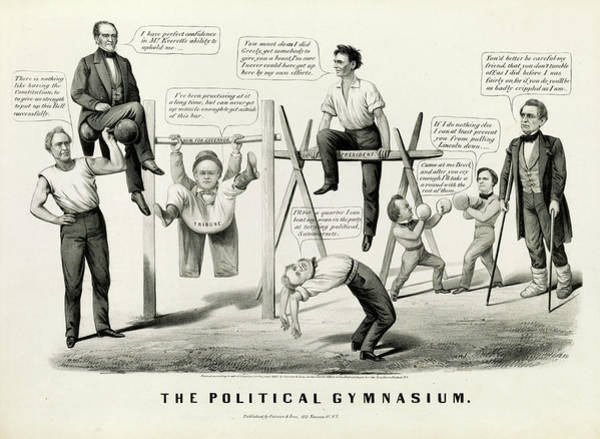 Wall Art - Painting - The Political Gymnasium, 1860 by American School