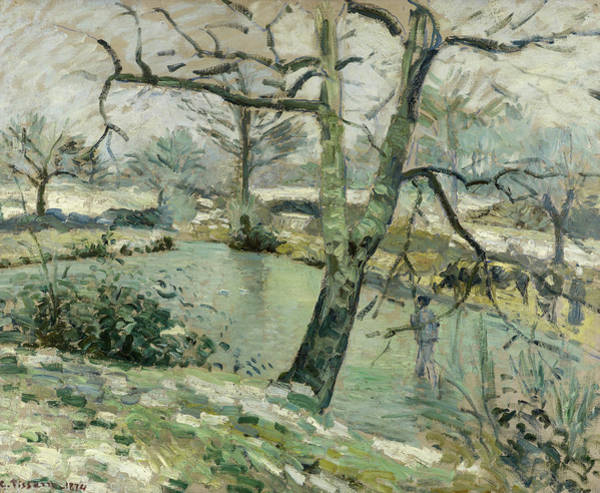 Wall Art - Painting - The Pond At Montfoucault, Effect Of Winter by Camille Pissarro