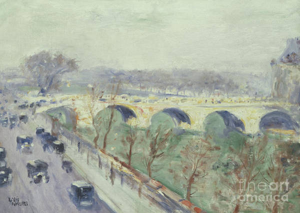 Royal Street Painting - The Pont Royal In Paris, 1928  by Ury Lesser