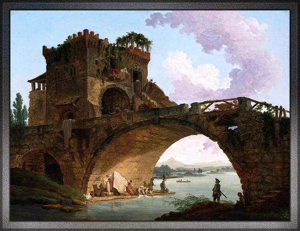 Painting - The Ponte Salario By Hubert Robert by Xzendor7