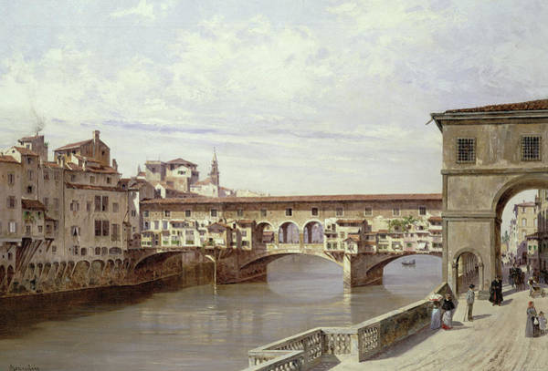 Wall Art - Painting - The Pontevecchio, Florence by Antonietta Brandeis