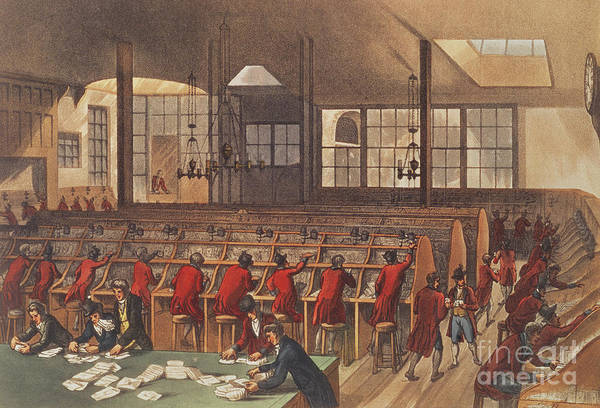 Wall Art - Painting - The Post Office, From Ackermann's Microcosm Of London by Rowlandson and Pugin
