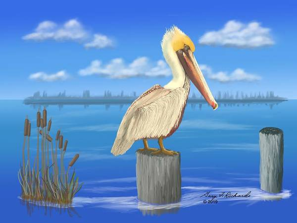 Wall Art - Digital Art - The Posted Pelican by Gary F Richards