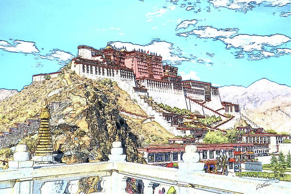 Drawing - The Potala Palace, Lhasa, Tibet by Dean Wittle