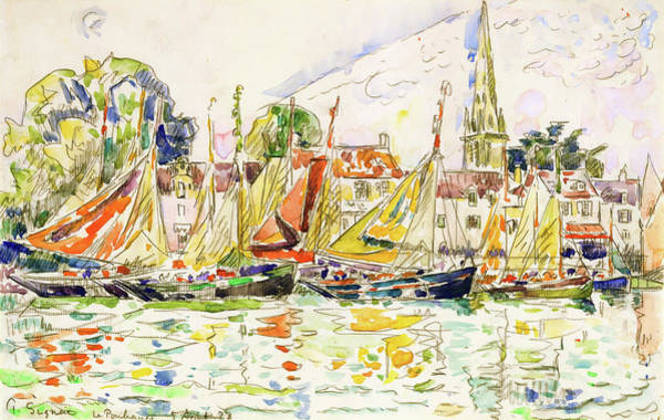 Wall Art - Painting - The Pouliguen, Fishing Boats - Digital Remastered Edition by Paul Signac