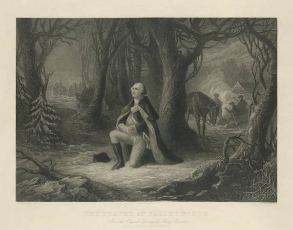 Wall Art - Painting - The Prayer At Valley Forge, Washington Valley Forge, 1778 by Henry Brueckner