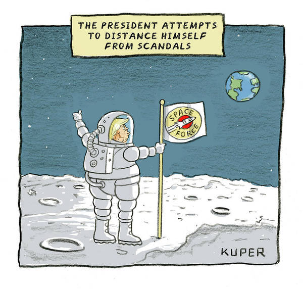 Moon Drawing - The President Attempts To Distance Himself by Peter Kuper