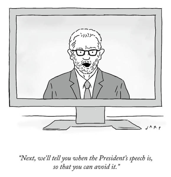 Drawing - The President's Speech by Kim Warp