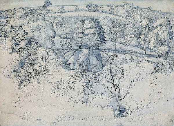 Wall Art - Painting - The Primitive Cottage, Shoreham - Digital Remastered Edition by Samuel Palmer