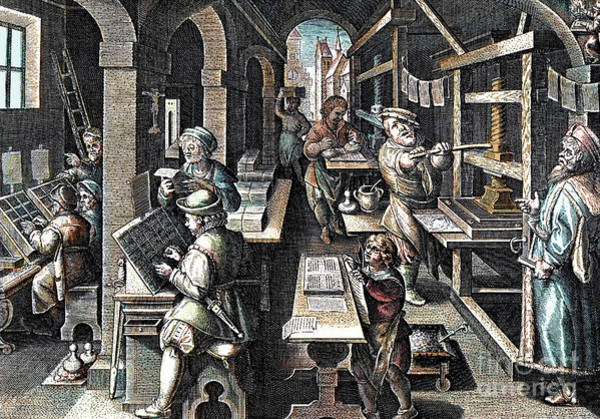 Wall Art - Painting - The Printing Of Books  Printing Office by French School