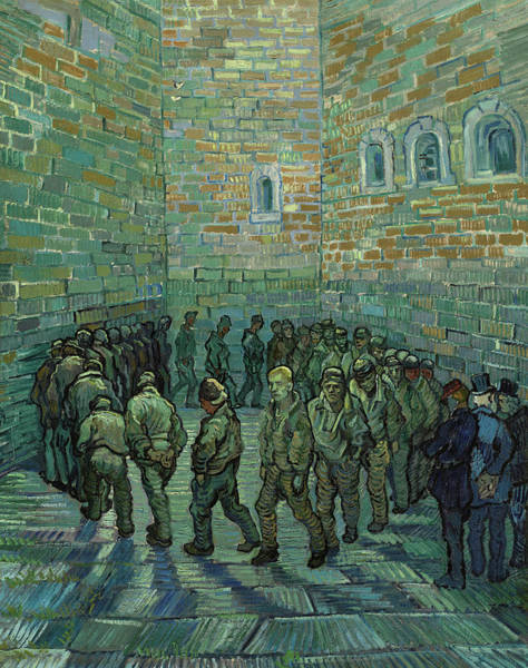 Psycho Painting - The Prison Courtyard, 1890 by Vincent Van Gogh