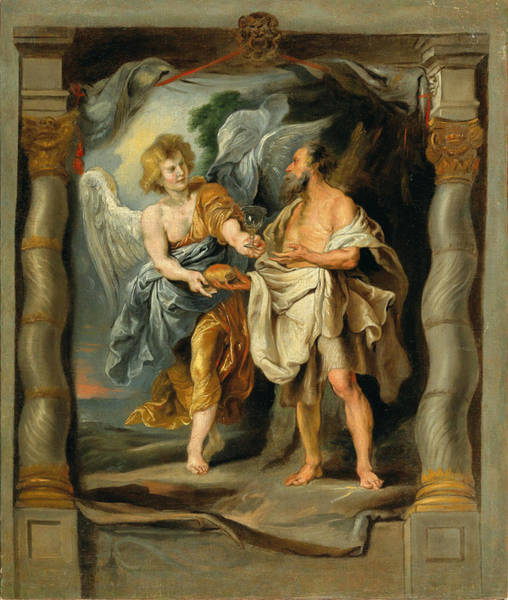 Painting - The Prophet Elijah Nourished By The Angel by Circle of Peter Paul Rubens