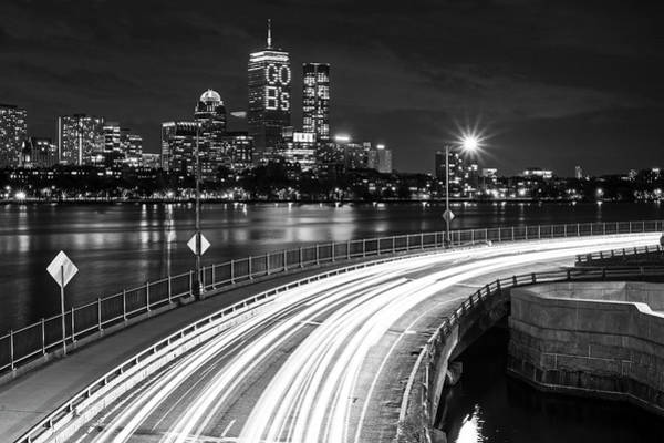 Photograph - The Pru Lit Up For The Boston Bruins Boston Ma Charles River Black And White by Toby McGuire