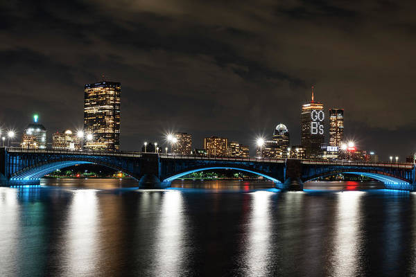 Photograph - The Pru Lit Up For The Boston Bruins Boston Ma Charles River Longfellow Bridge Skyline by Toby McGuire