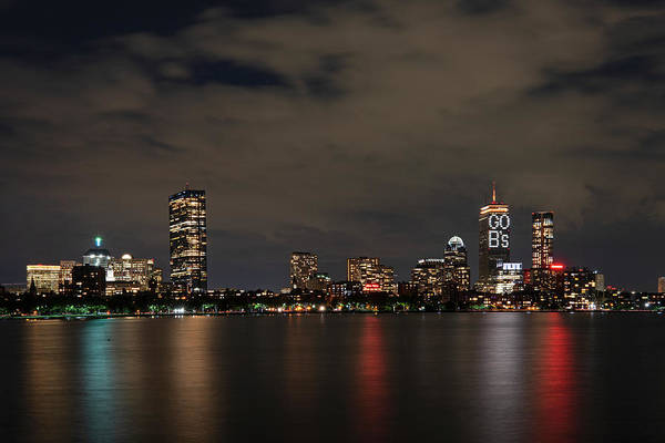 Photograph - The Pru Lit Up For The Boston Bruins Boston Ma Charles River Skyline by Toby McGuire