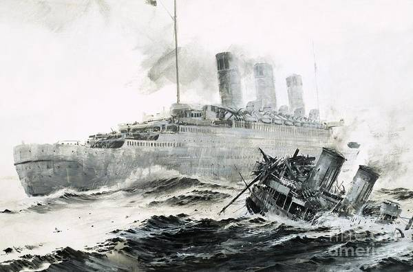 Wall Art - Painting - The Queen Mary Runs Into Her Escort, The Curacoa, Sinking The Ship by Graham Coton