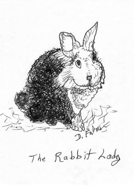 The Rabbit Lady Drawing Art Print