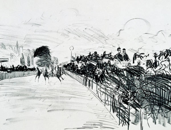 Wall Art - Drawing - The Races by Edouard Manet