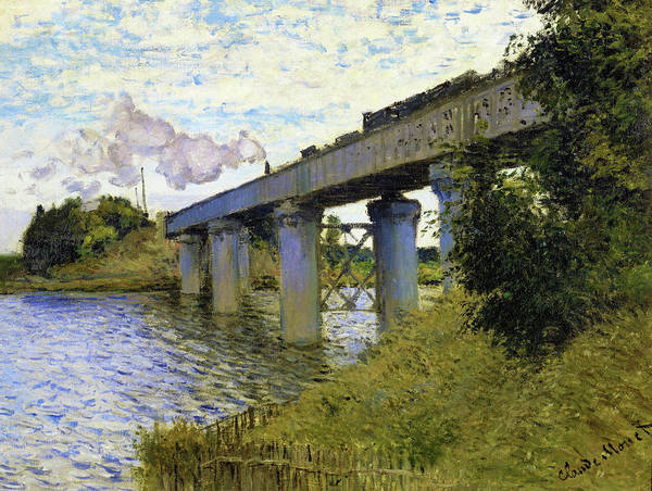 Riverbed Painting - The Railroad Bridge In Argenteuil - Digital Remastered Edition by Claude Monet