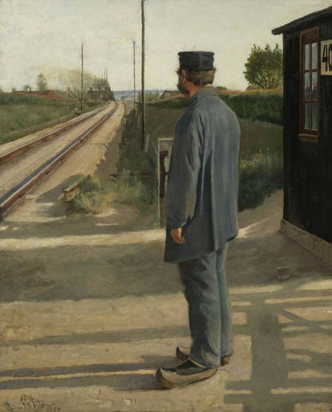 Vintage Railroad Painting - The Railroad Guard by Laurits Ring