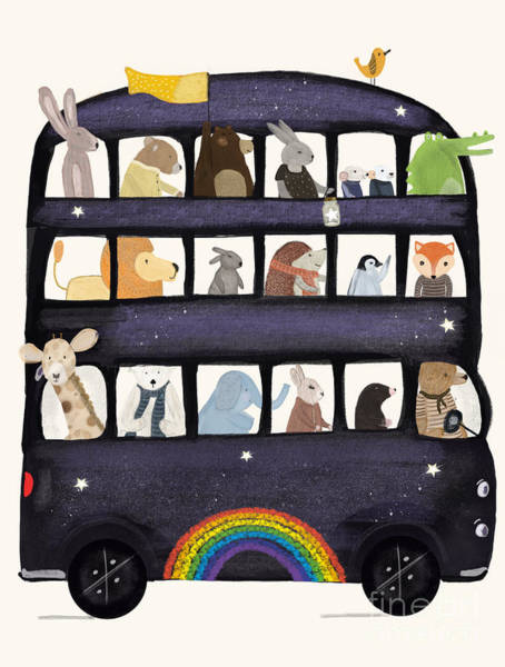 Wall Art - Painting - The Rainbow Bus by Bri Buckley
