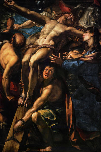 Procaccini Painting - The Raising Of The Cross, 1620 by Giulio Cesare Procaccini