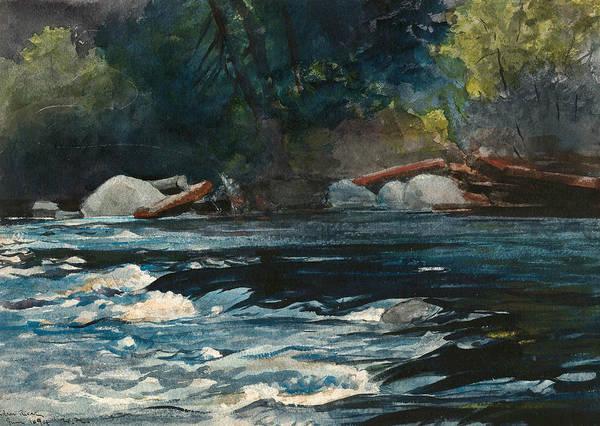 Wall Art - Drawing - The Rapids, Hudson River, Adirondacks by Winslow Homer