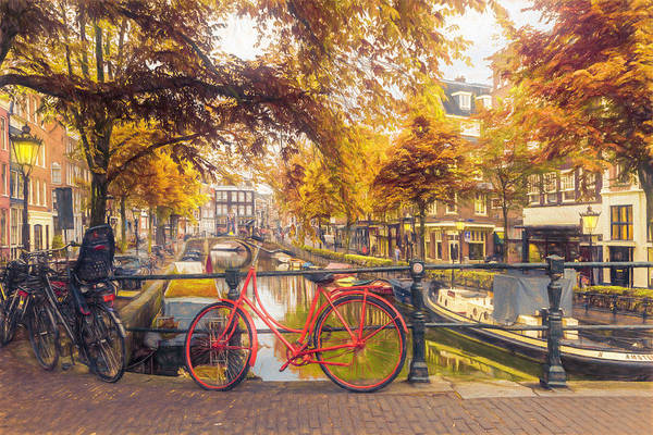Photograph - The Red Bike In Amsterdam In Autumn by Debra and Dave Vanderlaan