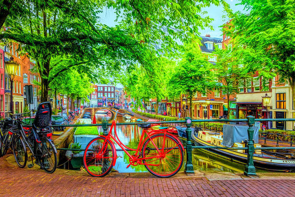 Photograph - The Red Bike In Amsterdam In Hdr Detail by Debra and Dave Vanderlaan