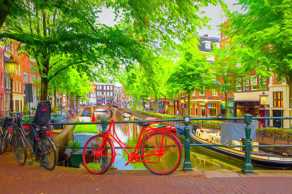 Photograph - The Red Bike In Amsterdam Painting by Debra and Dave Vanderlaan