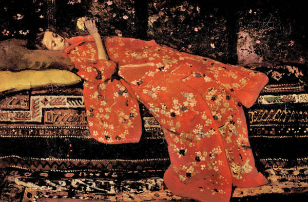 Kimono Painting - The Red Kimono - Top Quality Image Edition by George Hendrik Breitner