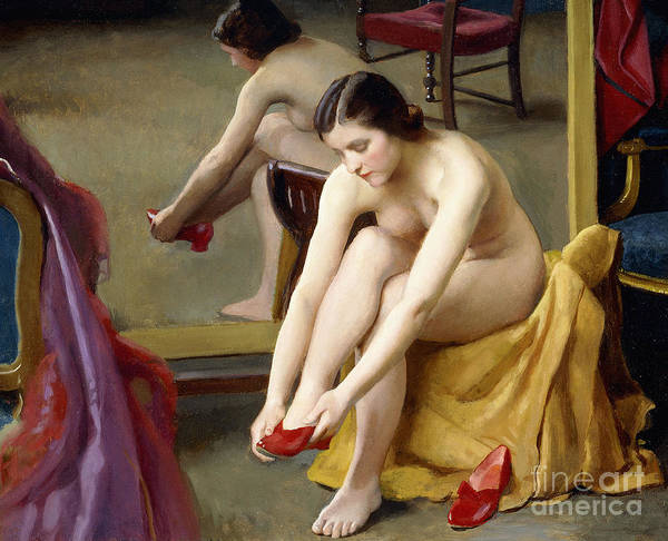 Wall Art - Painting - The Red Mules by William McGregor Paxton