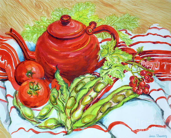 Wall Art - Painting - The Red Teapot by Joan Thewsey