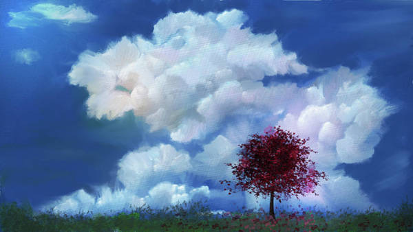 Wall Art - Mixed Media - The Red Tree In The Clouds by Mary Timman