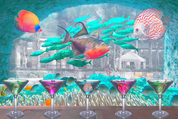 Digital Art - The Reef Martini Bar In Soft Underwater Tones by Debra and Dave Vanderlaan