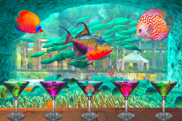 Digital Art - The Reef Martini Bar Watercolor Painting by Debra and Dave Vanderlaan