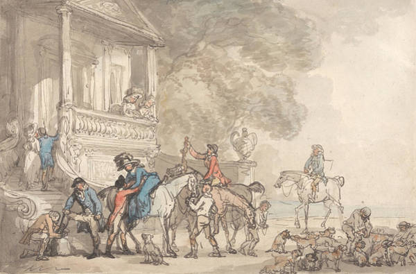Drawing - The Return From The Hunt by Thomas Rowlandson