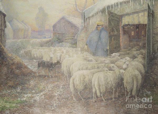 Barn Snow Painting - The Return Of The Shepherd by Adriaan Josef Heymans